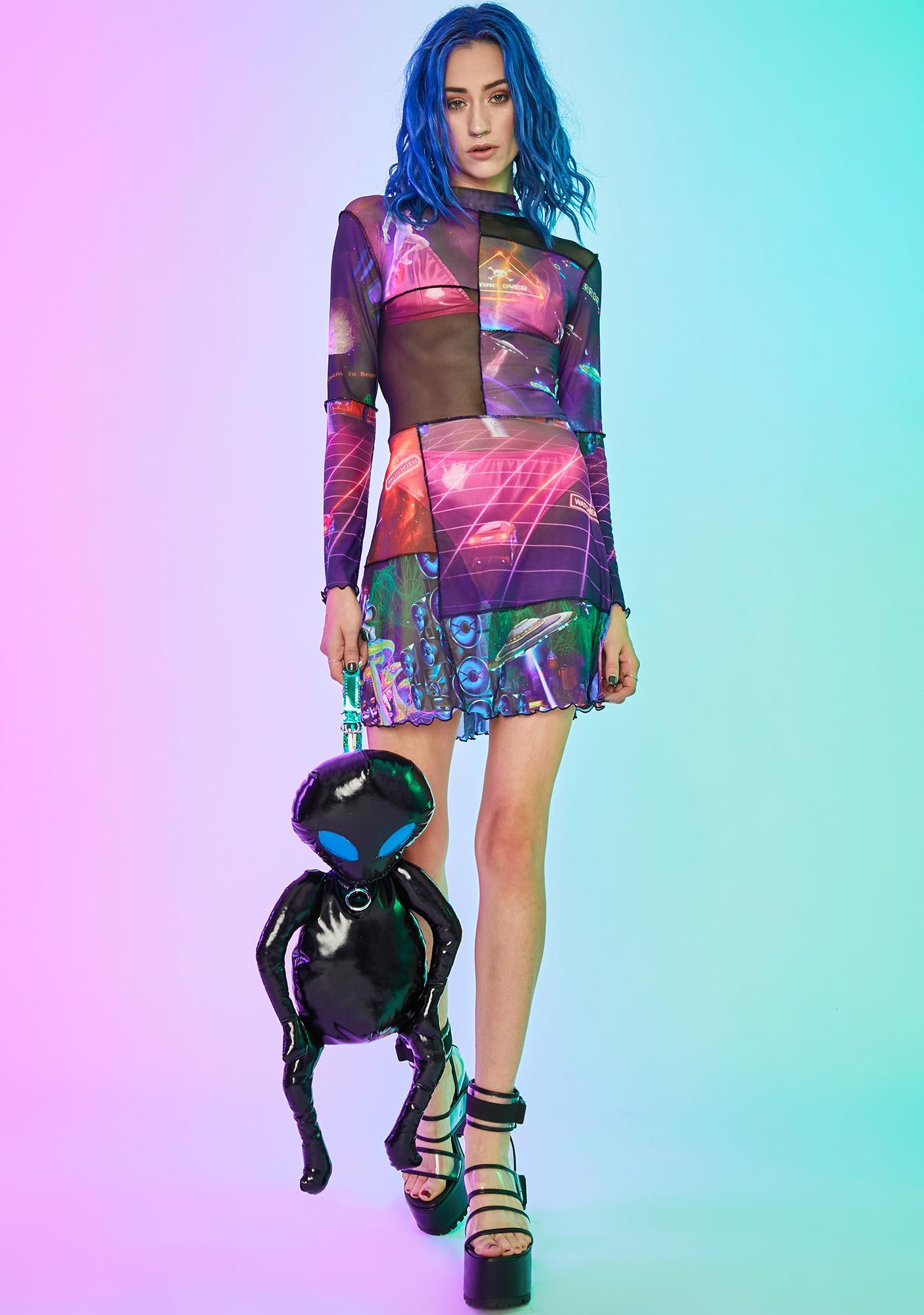 Current Mood Future World Mesh Dress