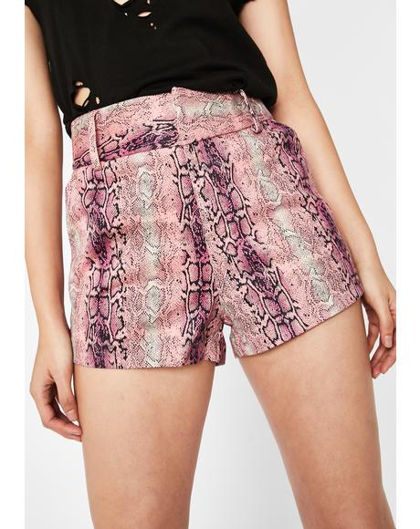 Bite Or Be Bitten Snakeskin Shorts