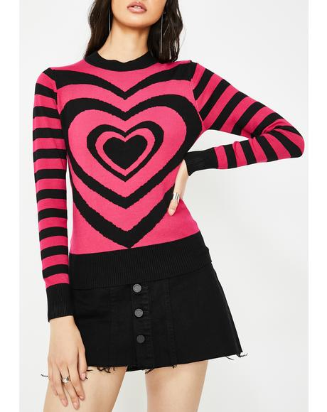 Lazy Hearts Stripe Sweater