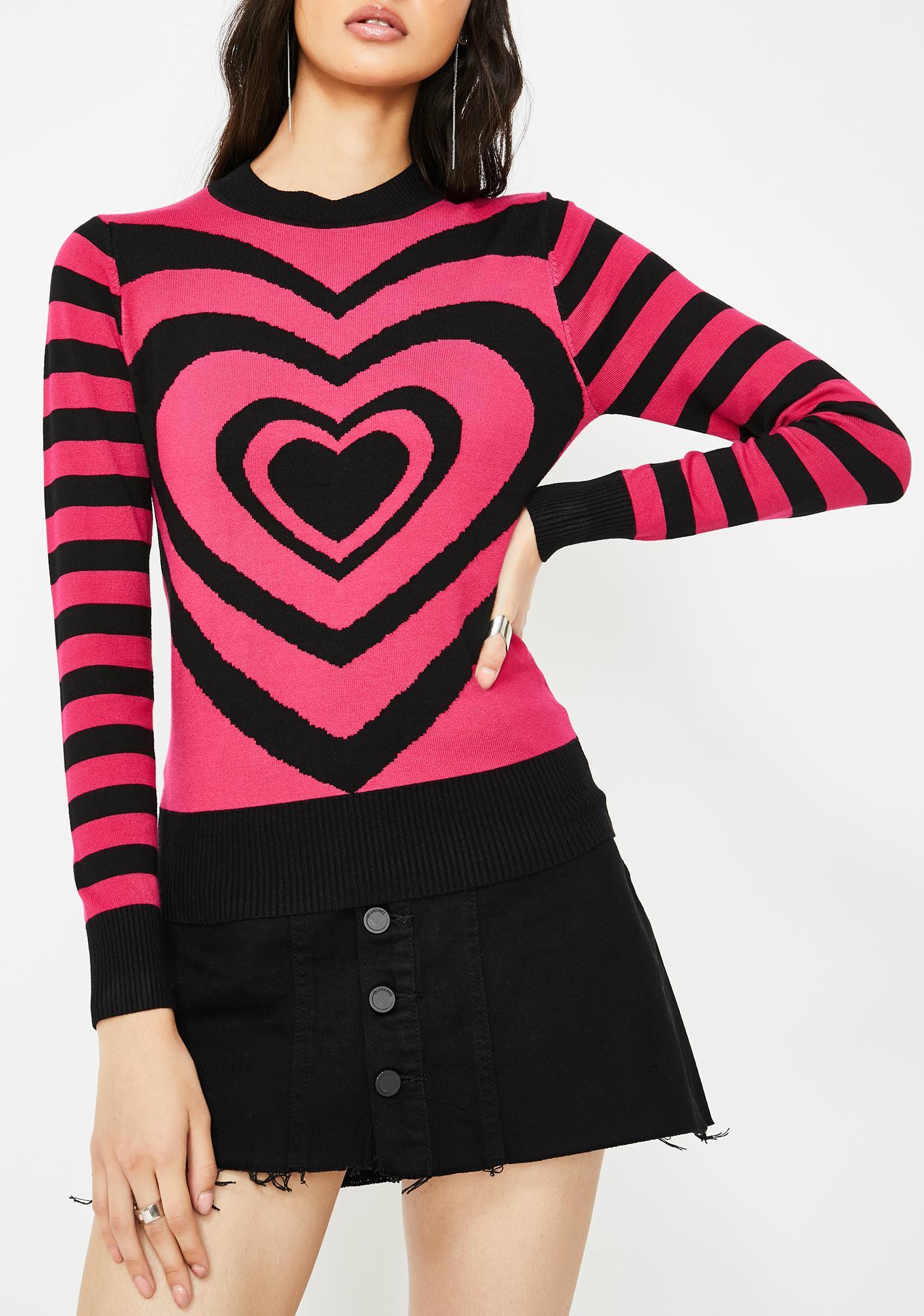 Jawbreaker Lazy Hearts Stripe Sweater