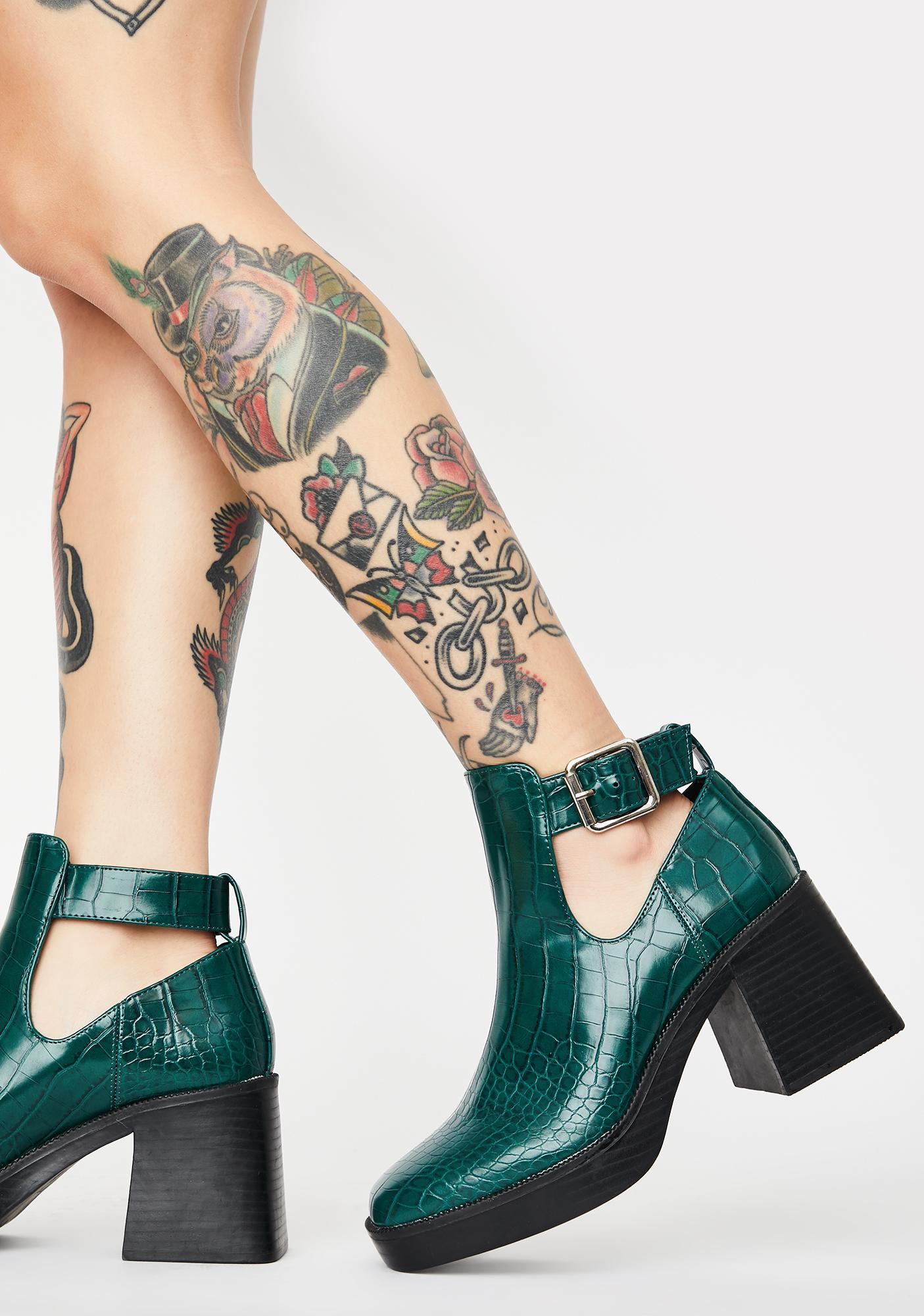 Public Desire Green Latoya Ankle Boots