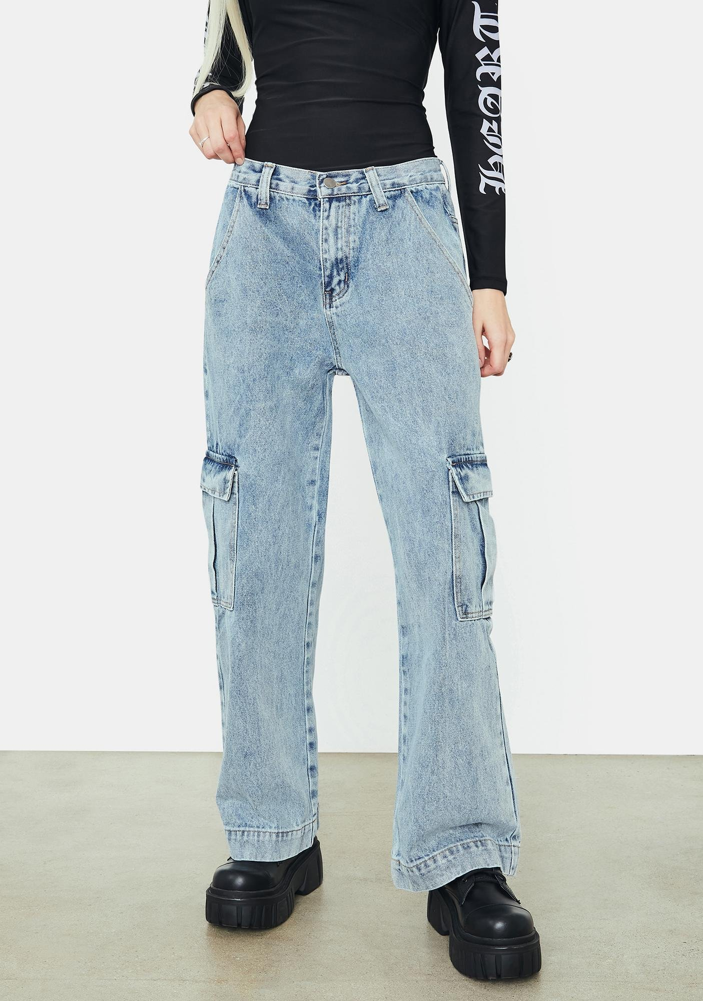 Meet In The Middle Denim Cargo Pants