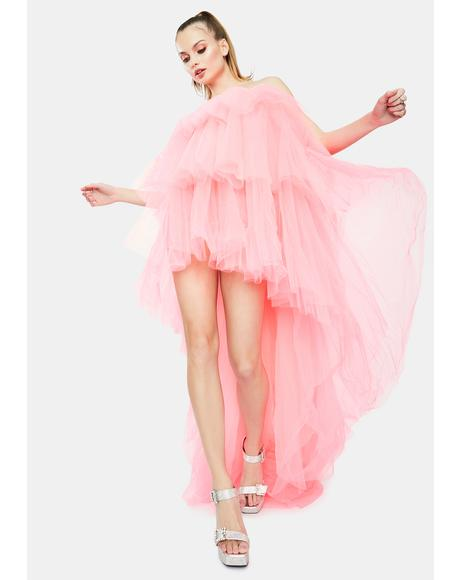 Neon Pink Tulle High Low Dress