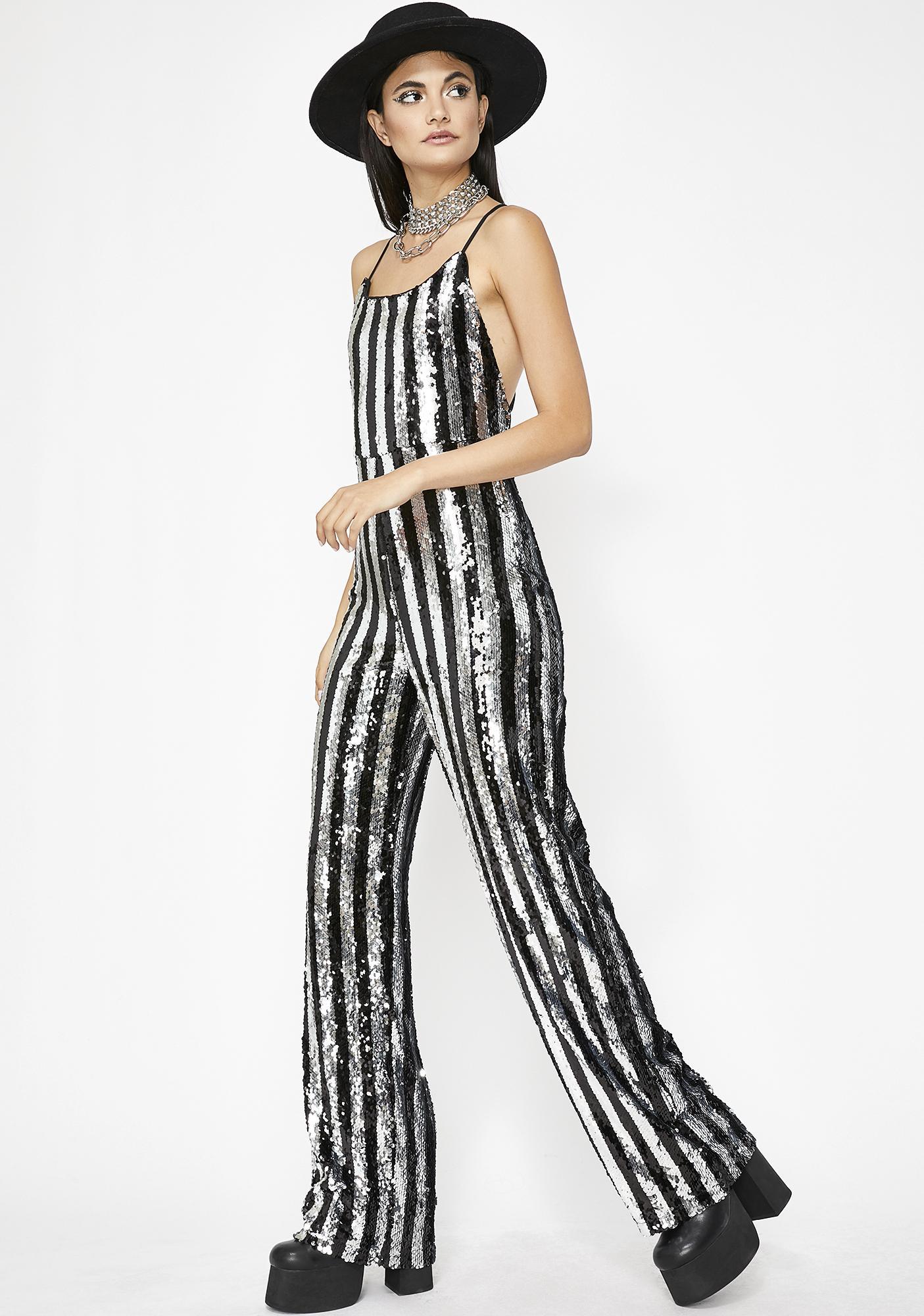 0ad128d5196e Black Silver Sequin Stripe Jumpsuit