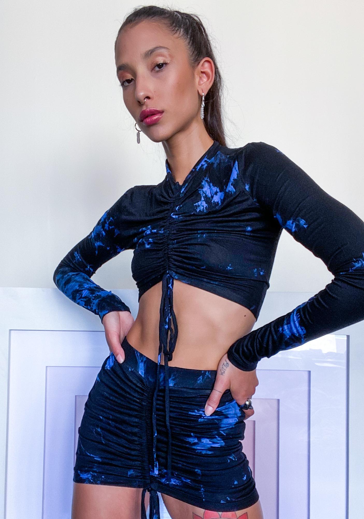 Deep Twisted Fling Ruched Skirt Set