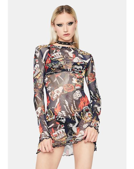 Take A Gamble Mesh Dress