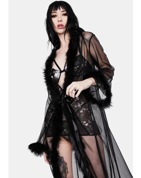 Noir Mistress in Marabou Long Robe