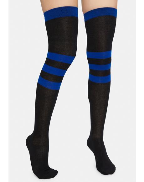Navy Scoring High Stripe Knee High Socks