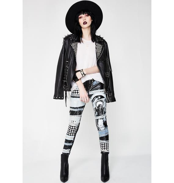 Wicked Lester Clothing Motorhead Denim And Leather Trousers