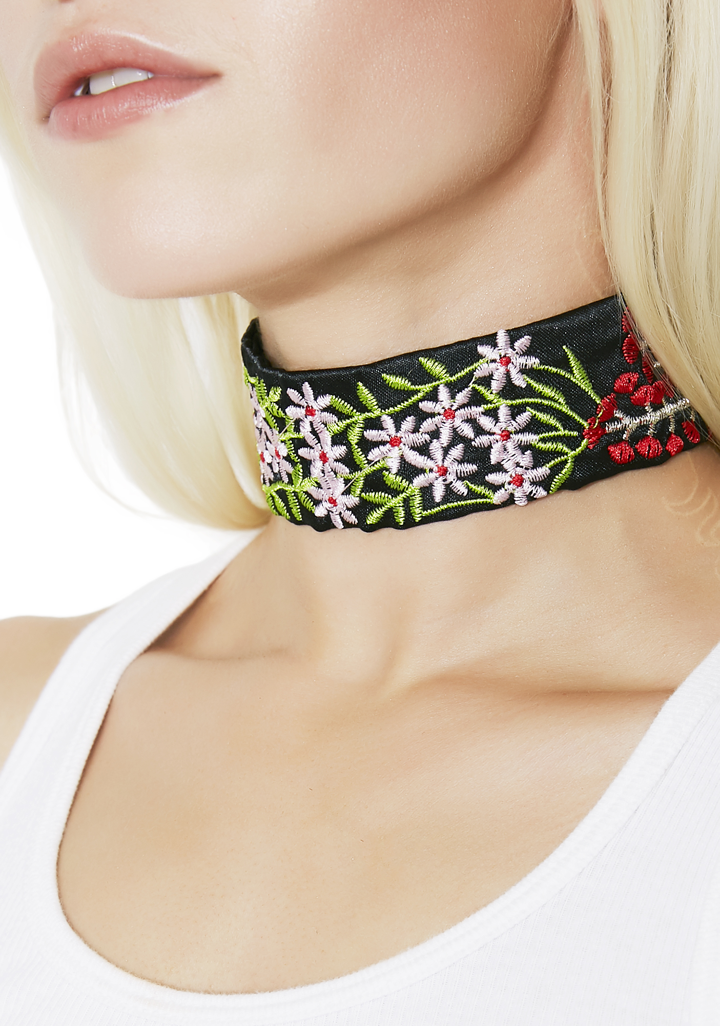 Embroidered Blossom Floral Choker Black