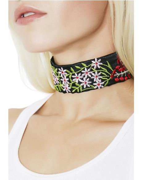 Wishing Well Embroidered Choker