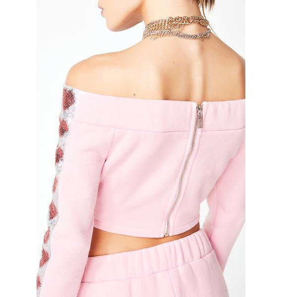 Jaded London Heart Sequin Cut-Out Crop Top