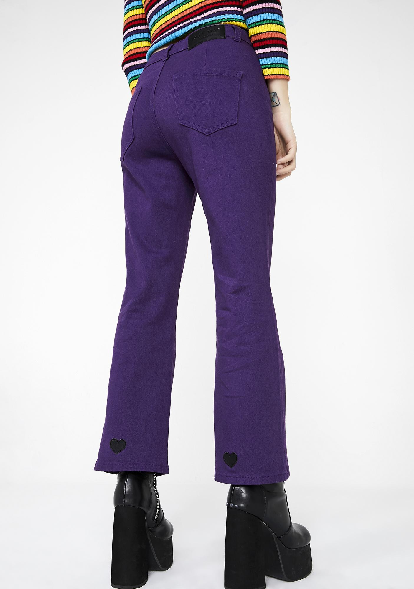 Lazy Oaf Purple Heart Denim Kick Flares