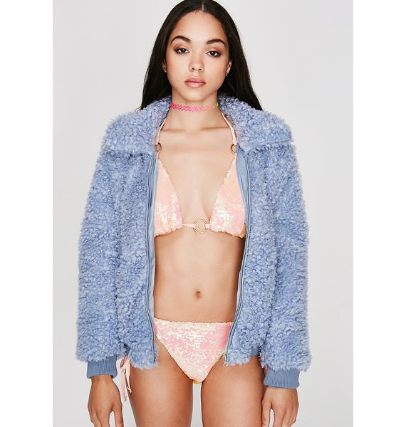 Sky Love Bird Fuzzy Jacket