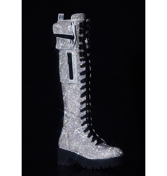 Club Exx Icy Bling Brigade Pocket Combat Boots