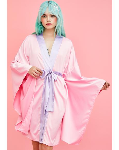 Tasteful Tease Satin Kimono