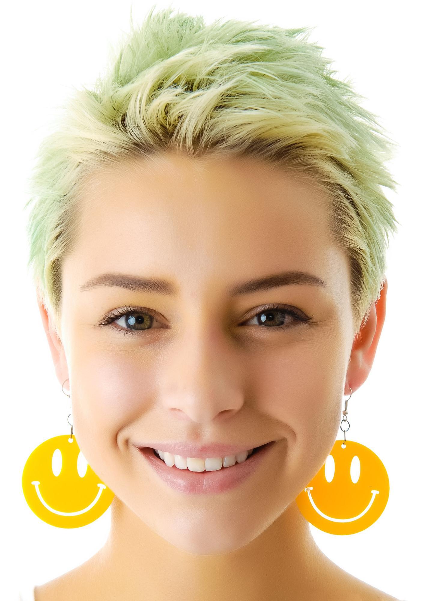 Suzywan Deluxe Mr. Nice Guy Smiley Face Earrings