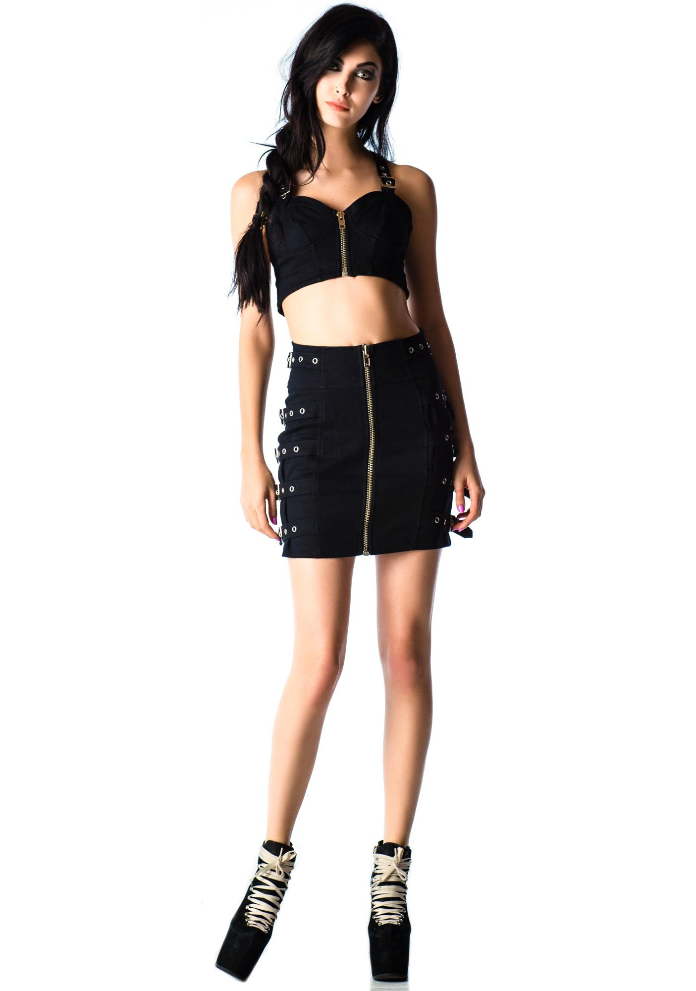 Lip Service Bound Up Zip Buckle Skirt