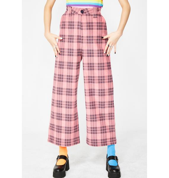 Lazy Oaf Check Cord Wide Leg Trousers