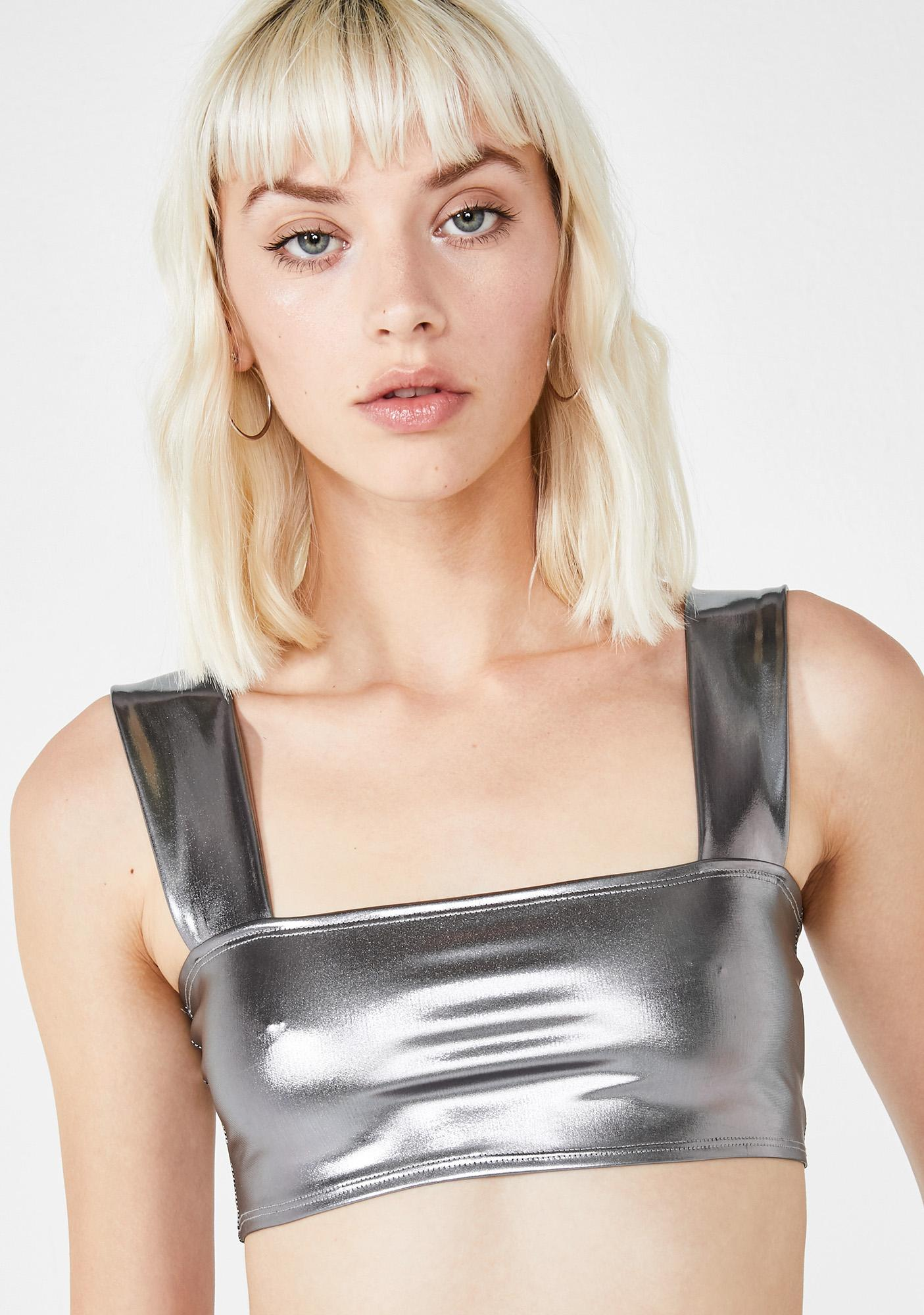 Motel Katie Metallic Crop Top
