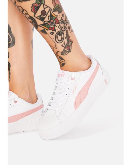 Pink Stripe Smash V2 Leather Sneakers