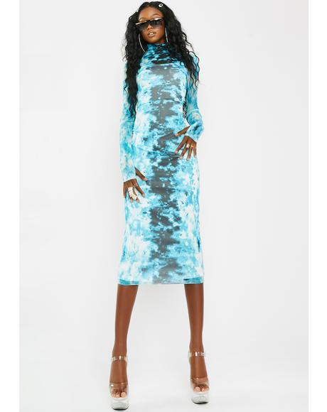 Shailene Aqua Tie Dye Dress