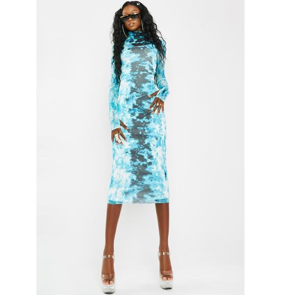 AFRM Shailene Aqua Tie Dye Dress