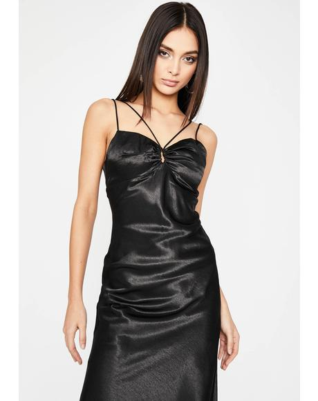 Sin Don't Speak Satin Midi Dress