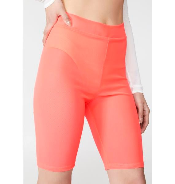 Coral Fluoro Freak Biker Shorts