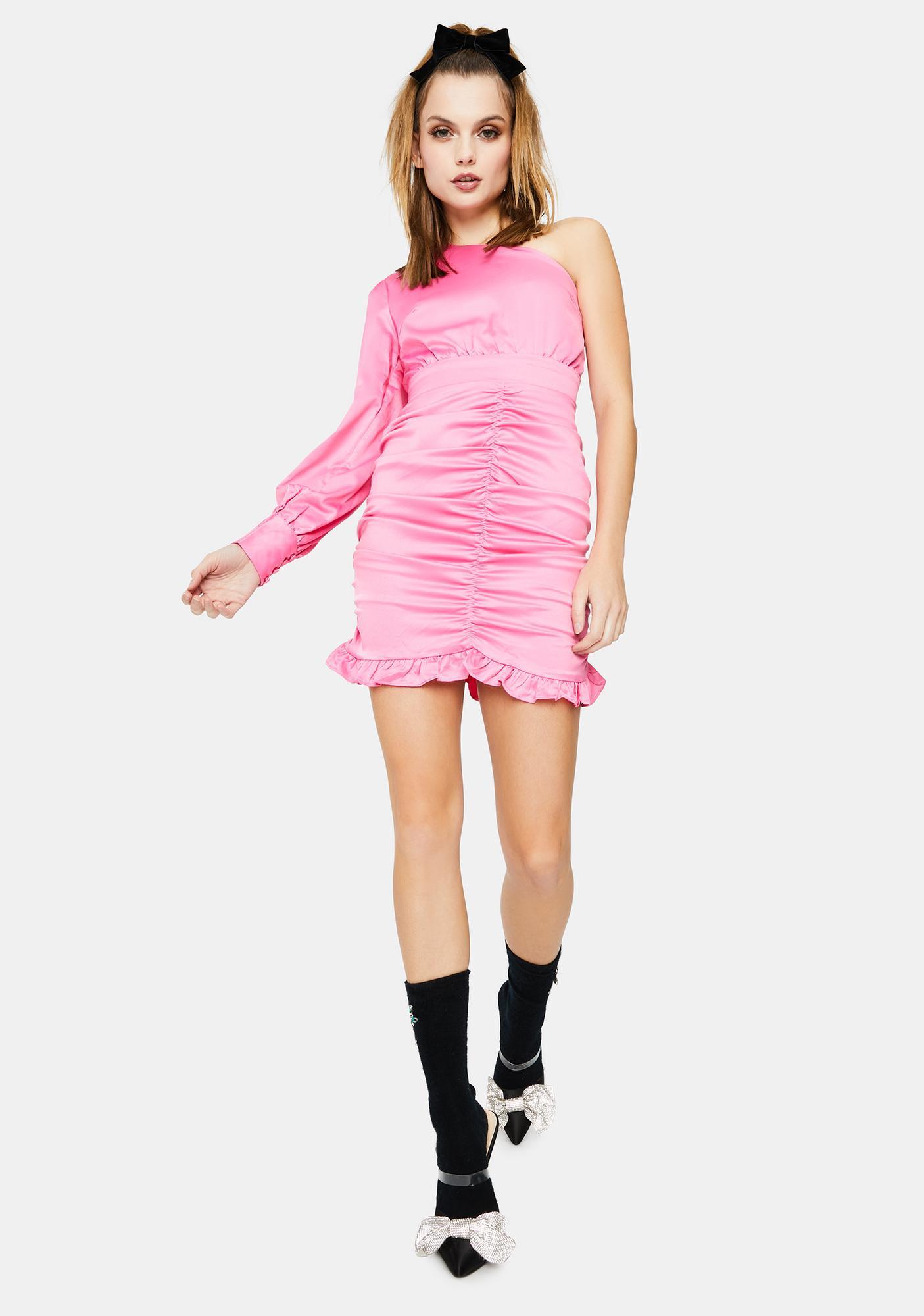 Glamorous Hot Pink Satin Ruched One Shoulder Dress