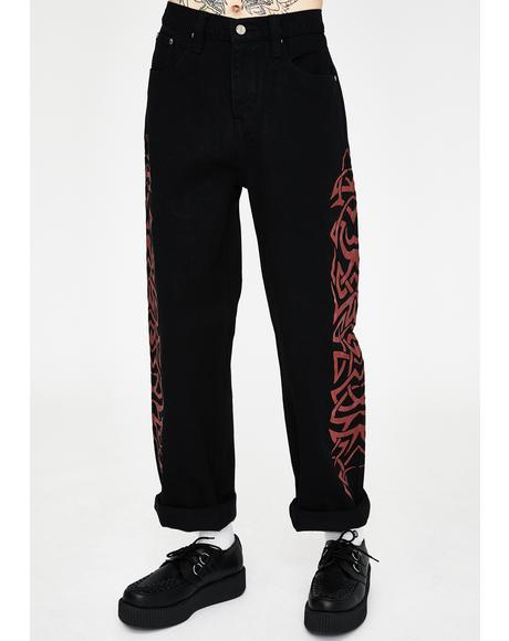Red Tribal Screen Print Skate Jeans