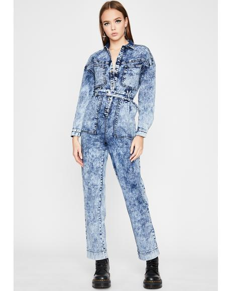 Acid Boost Denim Jumpsuit