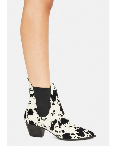 Always In A Mood Cow Print Boots