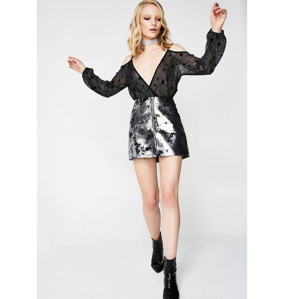 Libra Cold Shoulder Sheer Bodysuit