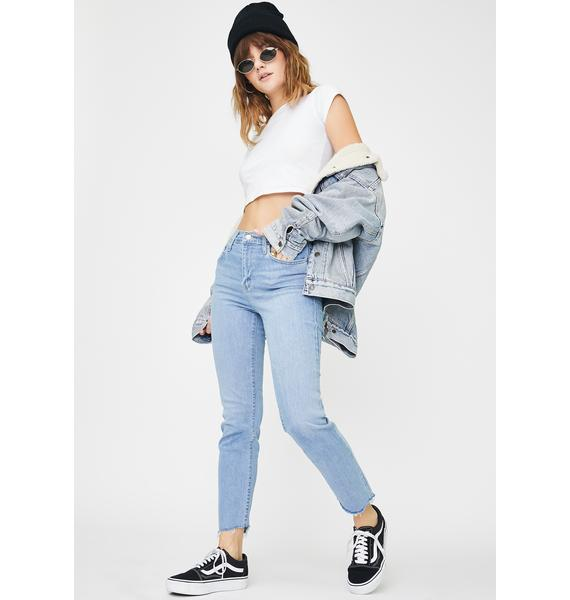 Levis London Blue 724 High Rise Straight Crop Jeans