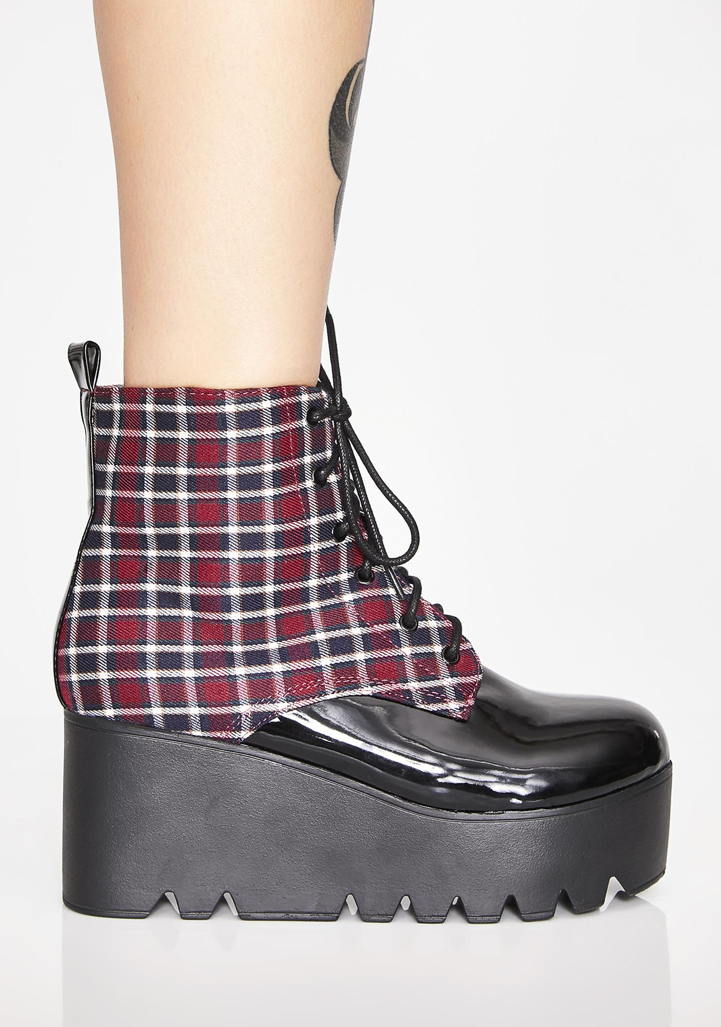 Midnight On The Grind Wedge Booties