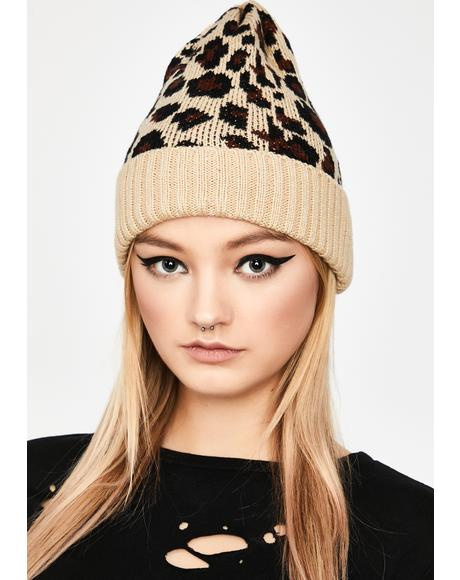 Fierce Winter Leopard Beanie