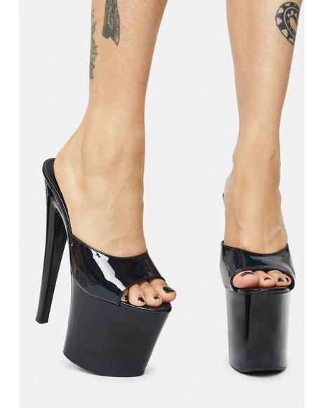 Sasha Black Hologram Platform Heels