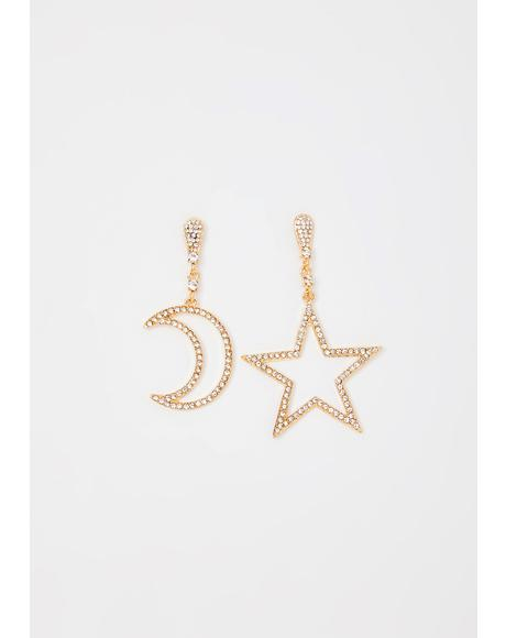 Star Child Rhinestone Earrings