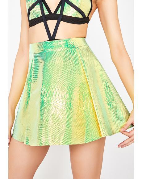 Holographic Snakeskin Skirt