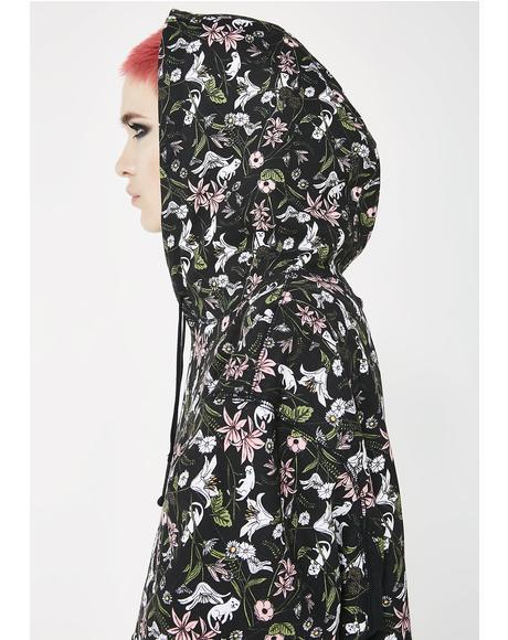 Nerm Flower Pattern Pullover Hoodie