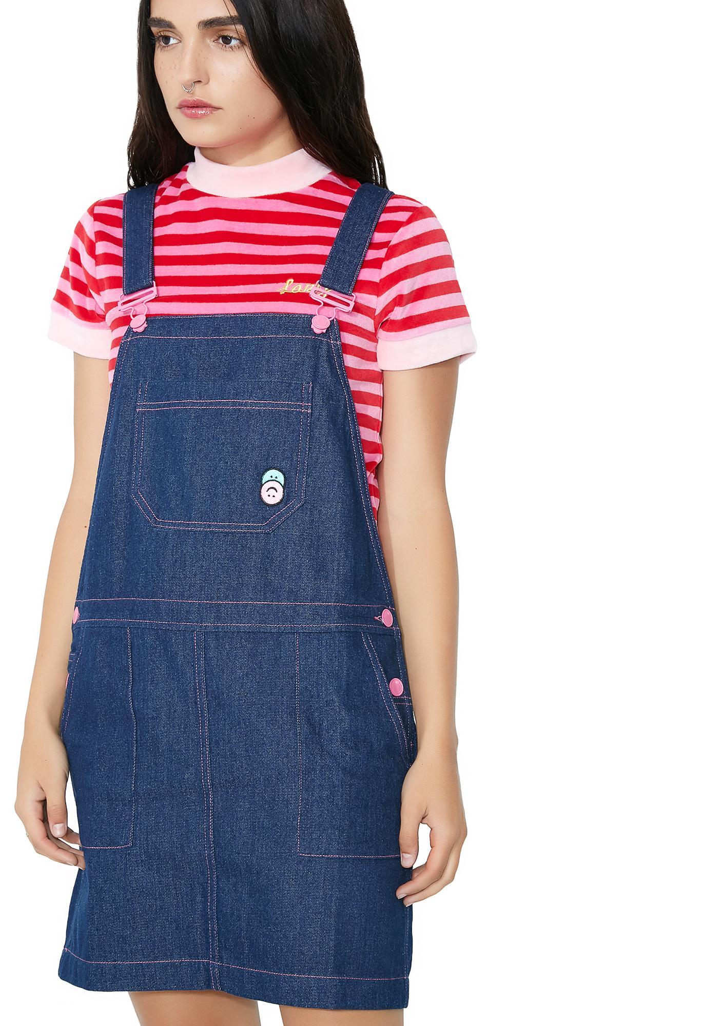 Lazy Oaf Indigo Pink Stitch Dungaree Dress
