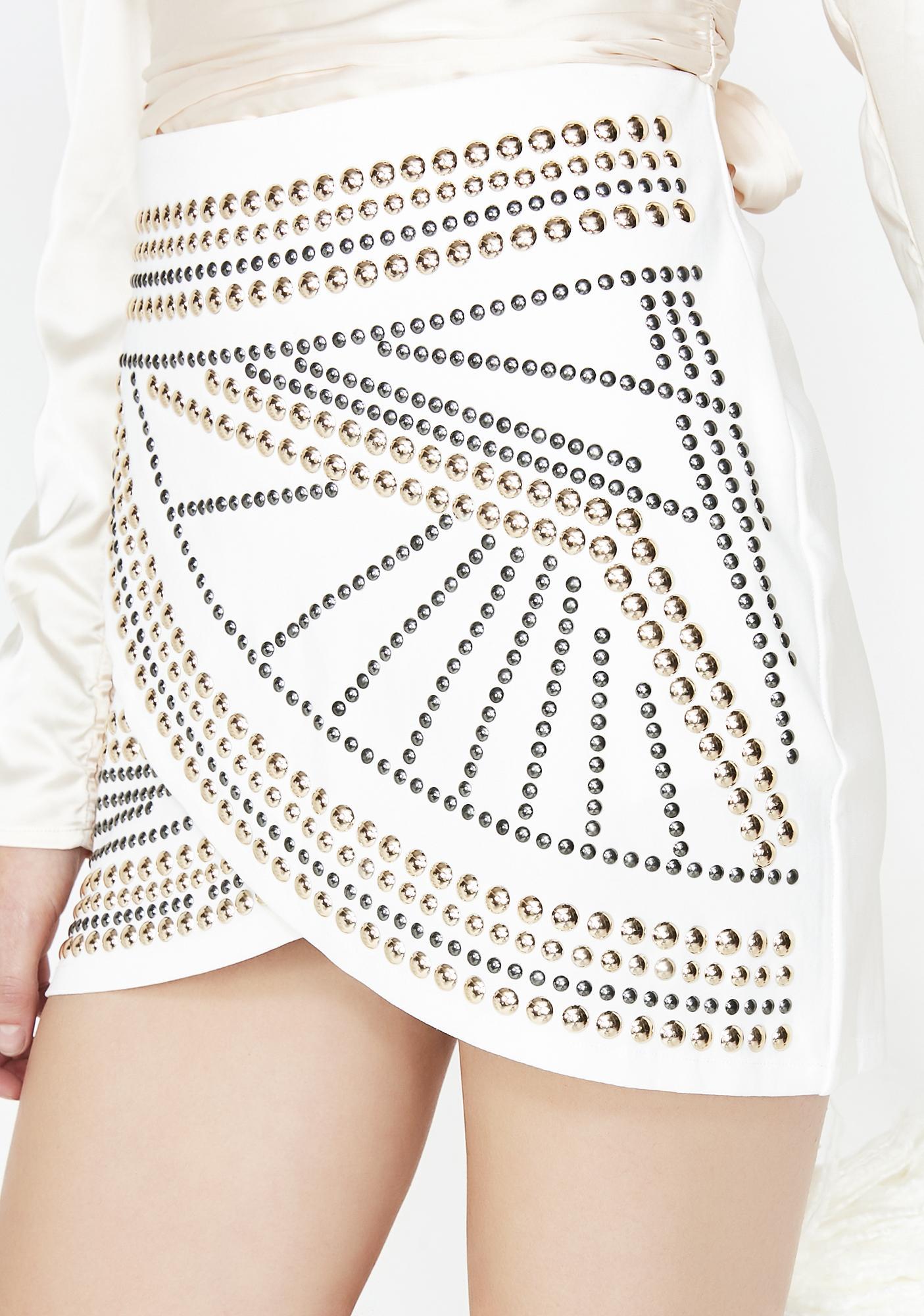 fb43b1fa3 Studded Tulip Skirt White   Dolls Kill