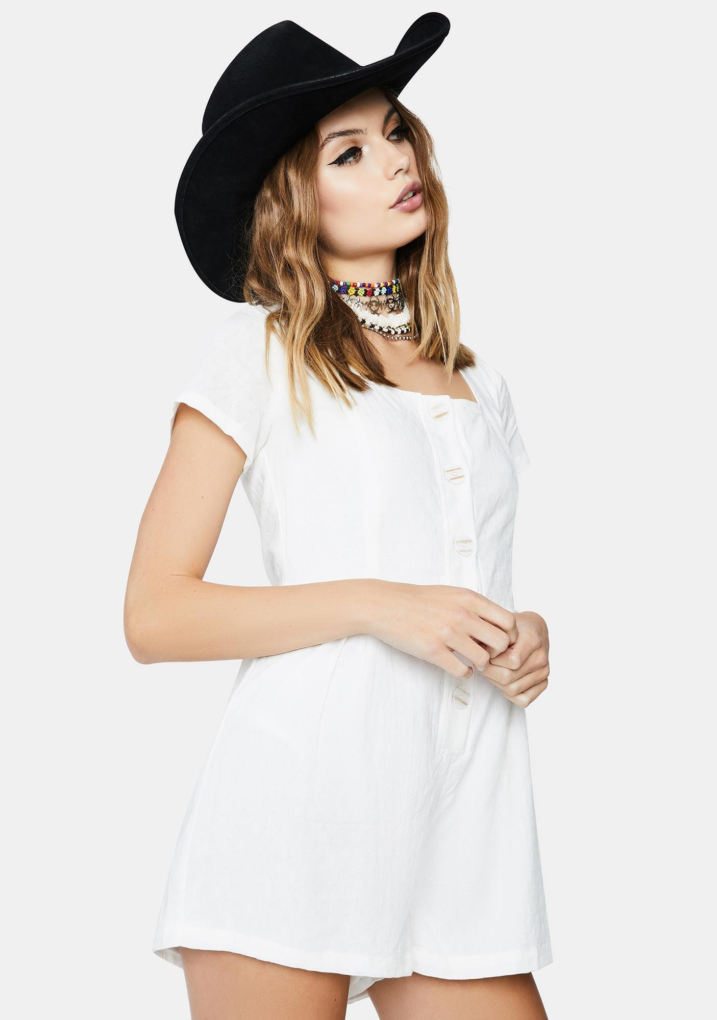 Daisy Street Relaxed Embroidery Style Playsuit