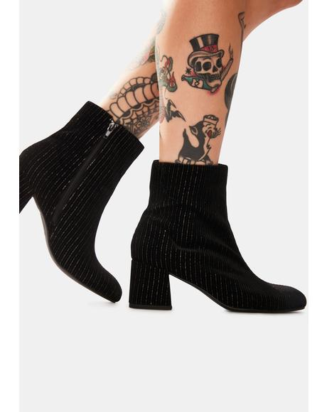 Black Good Vibes Ankle Boots