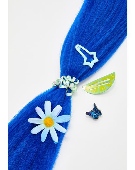 Neon Blue Add In Hair Extensions