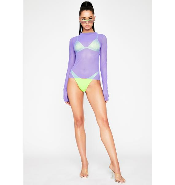 OH SHIT Violet Mesh Long Sleeve Top