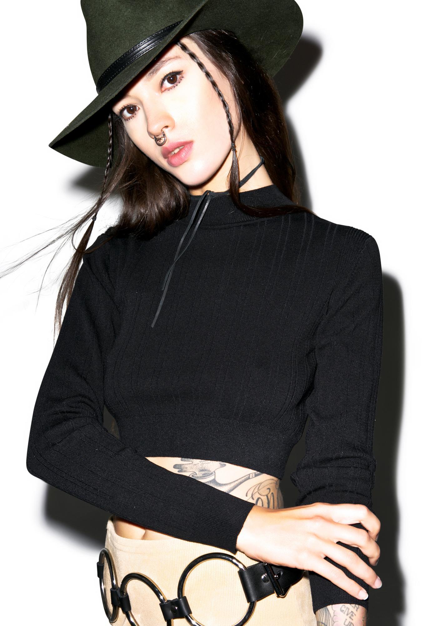 Glamorous Peek-A-Boo Cropped Sweater