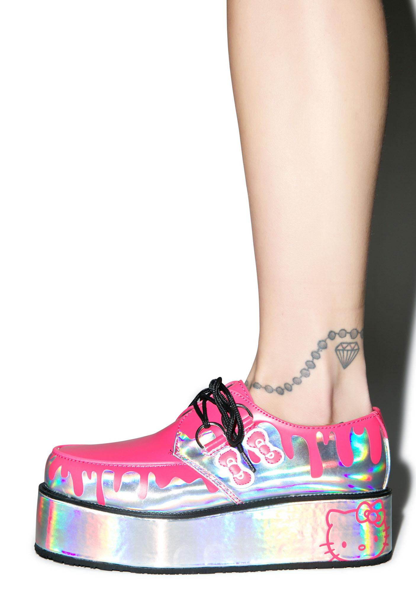 T.U.K. Pretty Pink Paint Bucket Hello Kitty Creepers