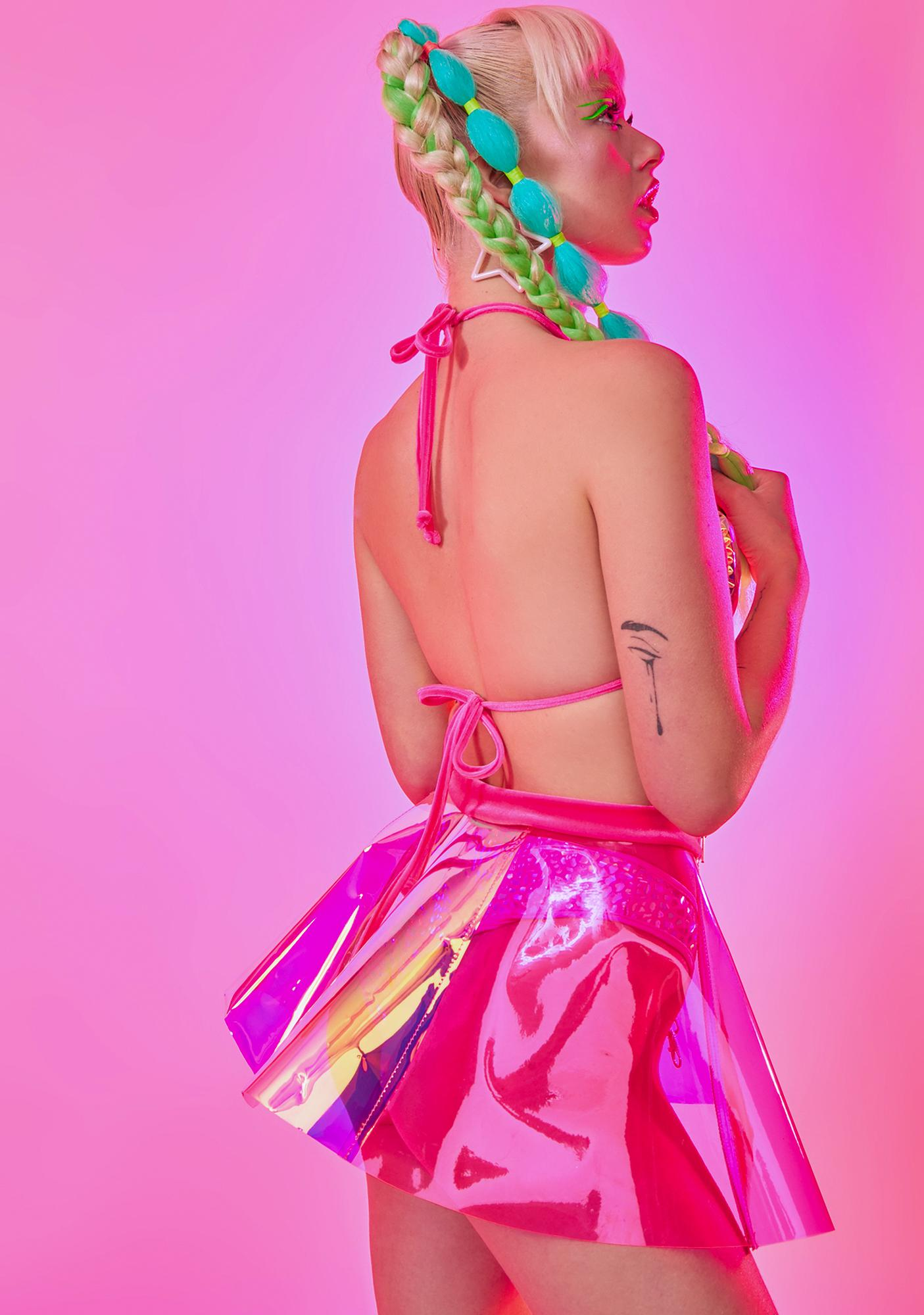 J Valentine Hot Pink Iridescent Choker Tri Top